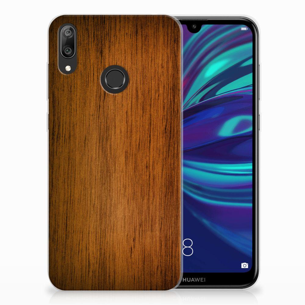 Huawei Y7 2019 Bumper Hoesje Donker Hout
