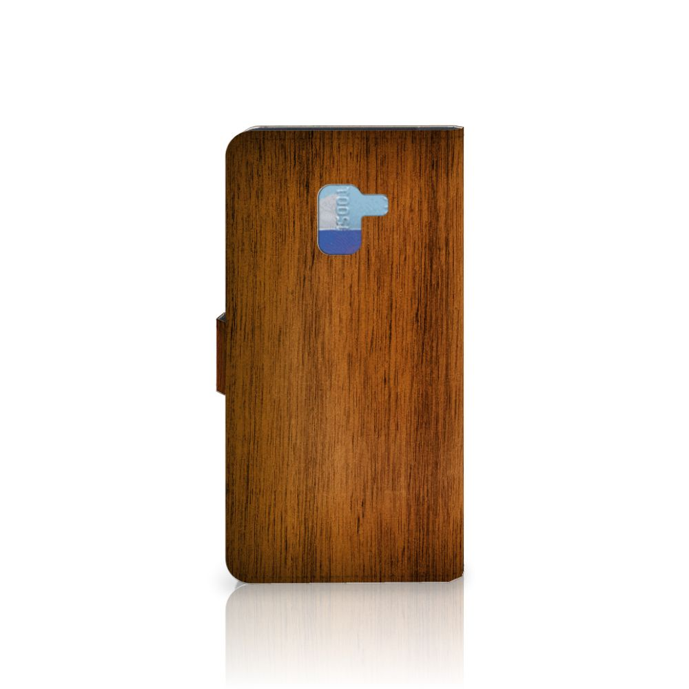Samsung Galaxy A8 Plus (2018) Book Style Case Donker Hout