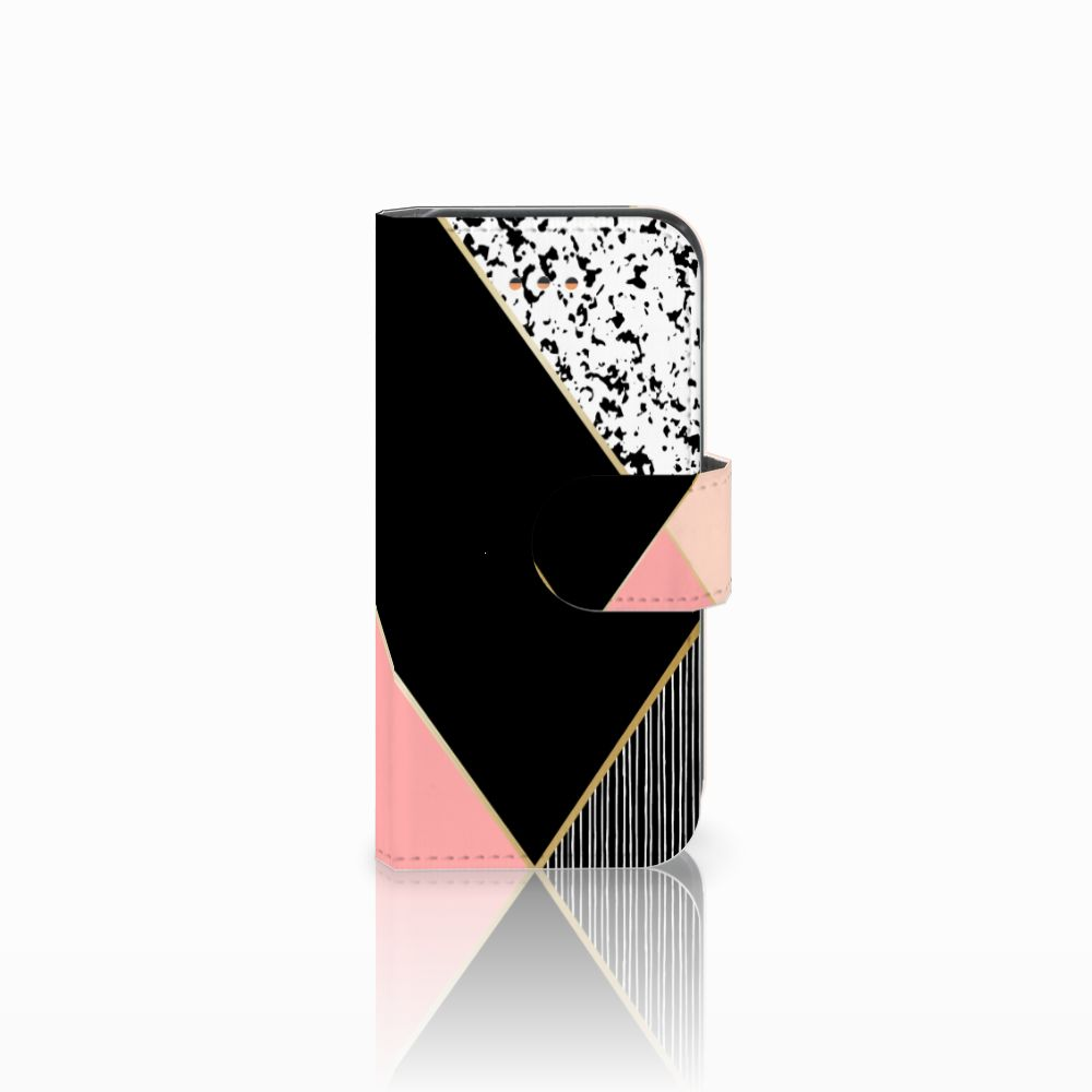 Apple iPhone 5C Uniek Boekhoesje Black Pink Shapes