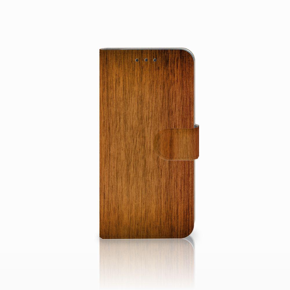 Motorola Moto G6 Play Uniek Boekhoesje Donker Hout