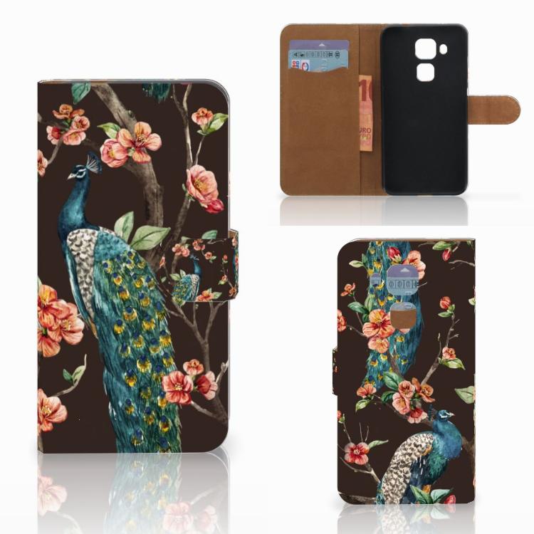 Huawei Nova Plus Telefoonhoesje met Pasjes Pauw met Bloemen