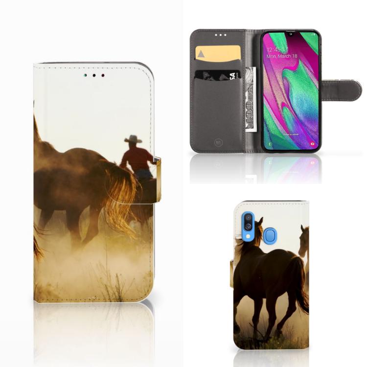 Samsung Galaxy A40 Telefoonhoesje met Pasjes Design Cowboy