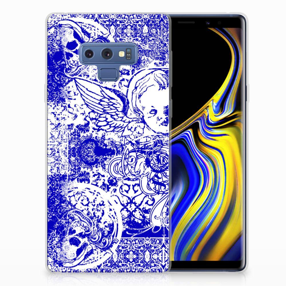 Silicone Back Case Samsung Galaxy Note 9 Angel Skull Blauw