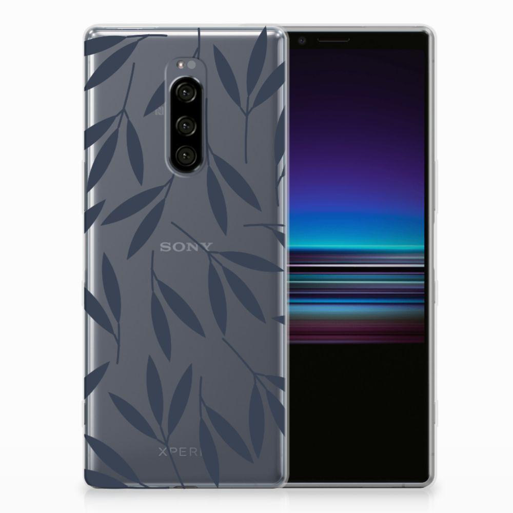 Sony Xperia 1 TPU Hoesje Design Leaves Blue