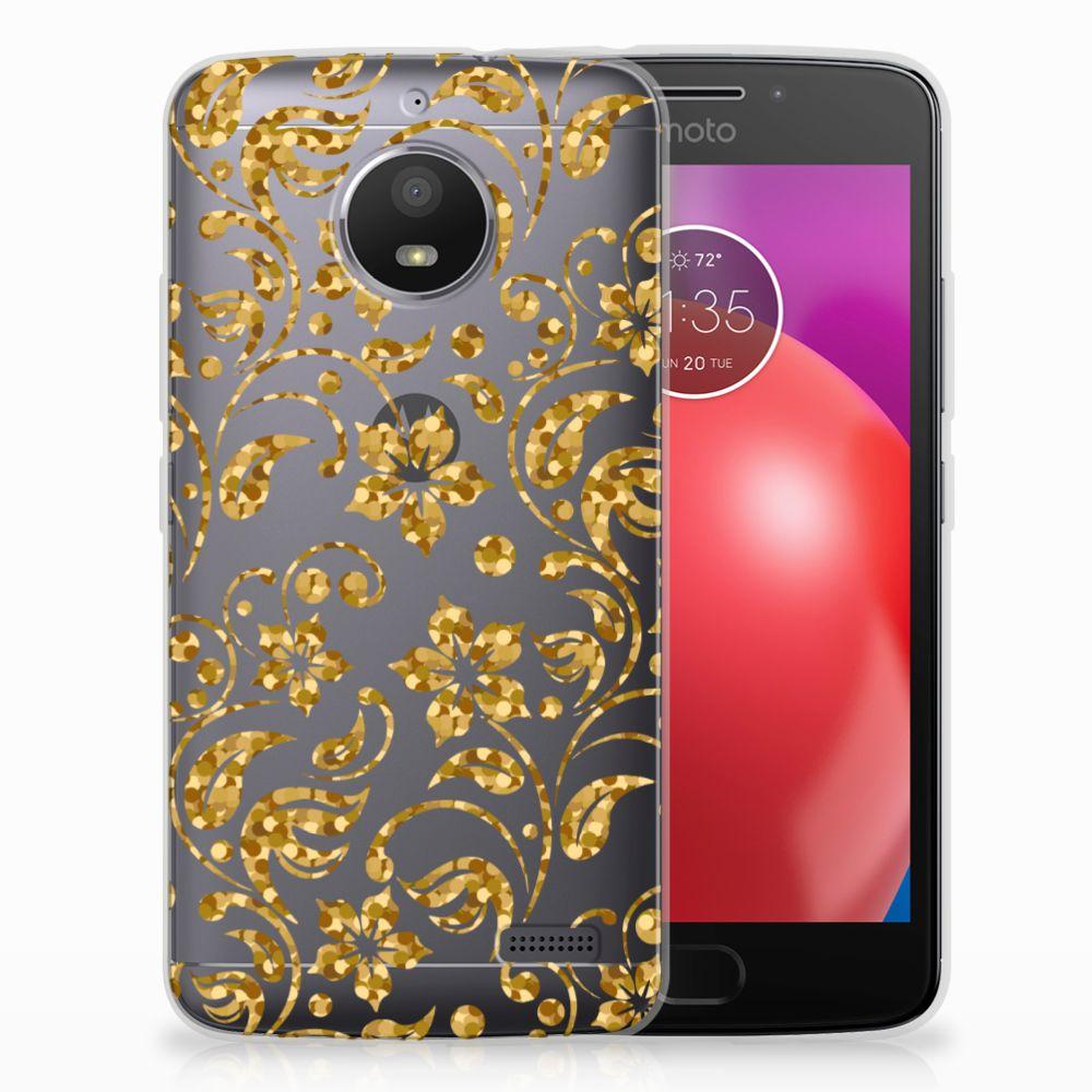 Motorola Moto E4 TPU Hoesje Design Gouden Bloemen