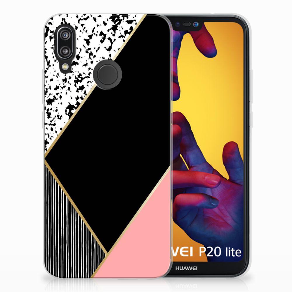 Huawei P20 Lite TPU Hoesje Zwart Roze Vormen