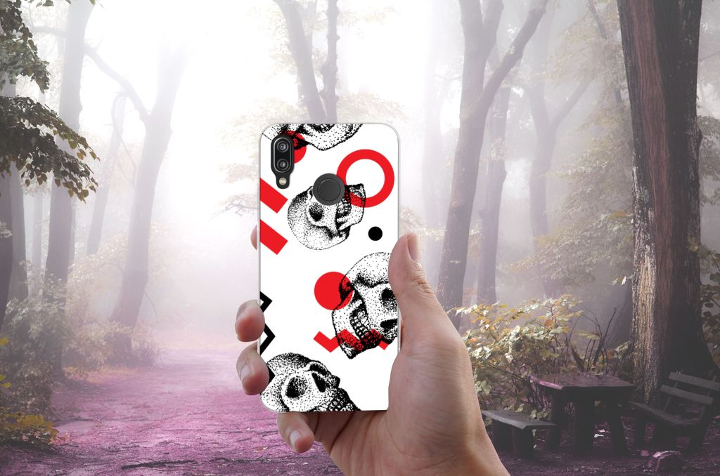 Silicone Back Case Huawei P20 Lite Skull Red