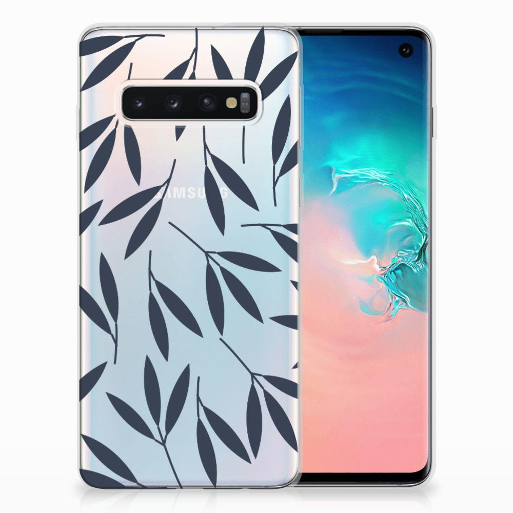 Samsung Galaxy S10 TPU Hoesje Design Leaves Blue