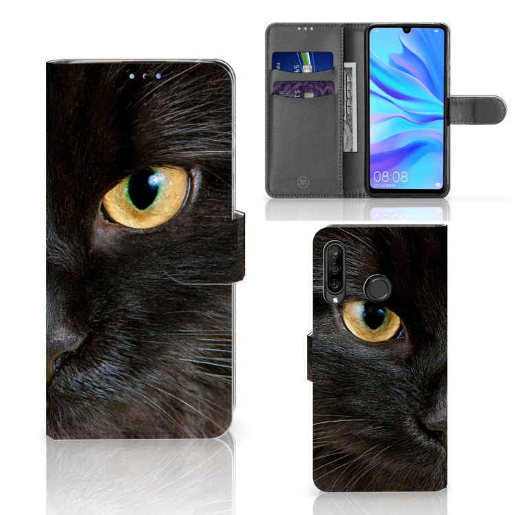 Huawei P30 Lite (2020) Telefoonhoesje met Pasjes Zwarte Kat