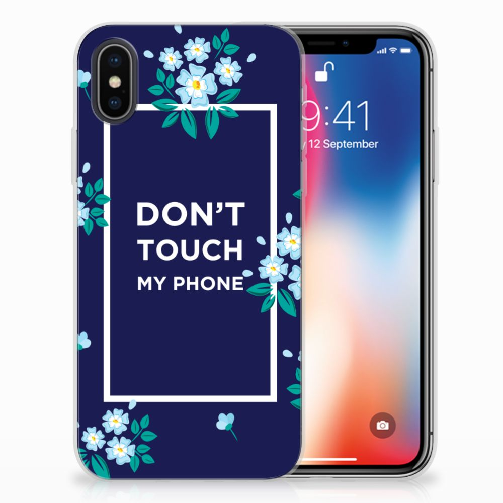 Apple iPhone X | Xs Silicone-hoesje Flowers Blue DTMP