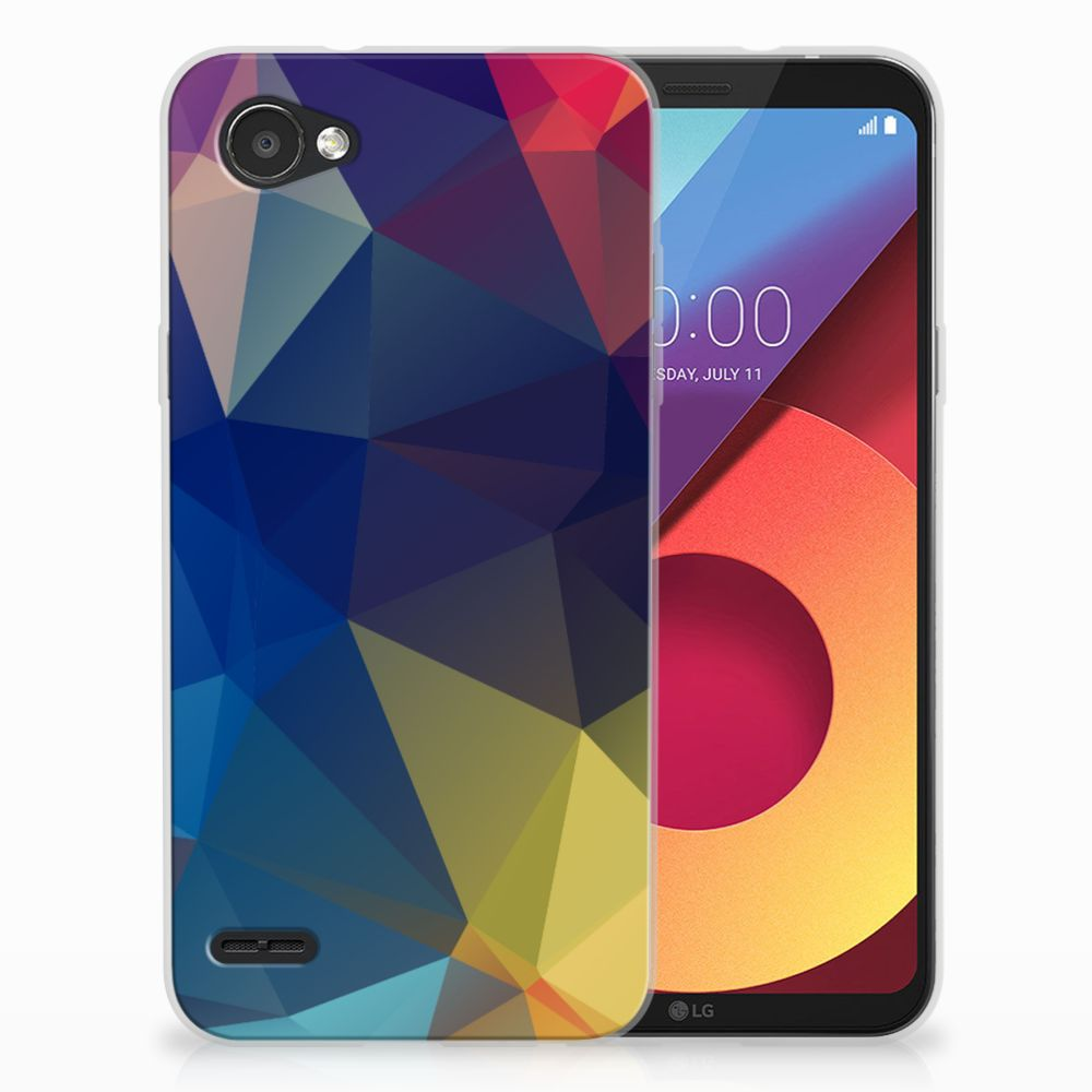 LG Q6   LG Q6 Plus Uniek TPU Hoesje Polygon Dark