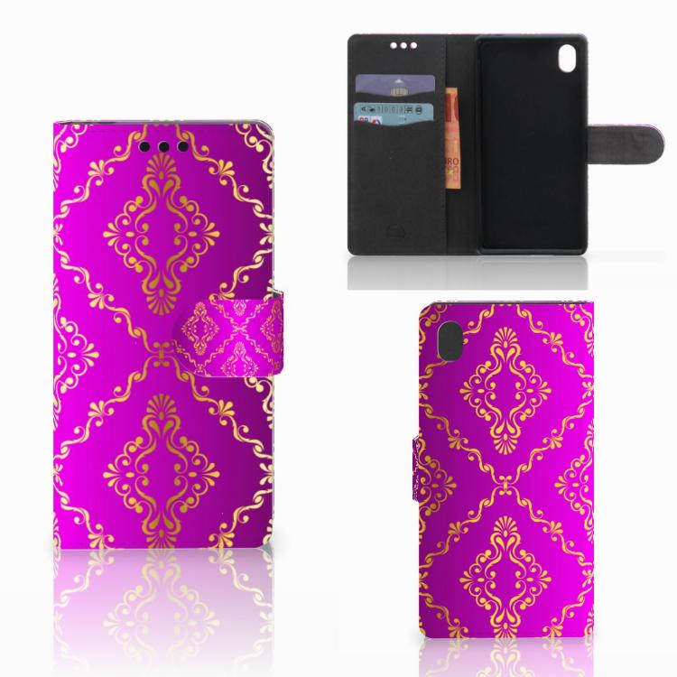 Wallet Case Sony Xperia M4 Aqua Barok Roze