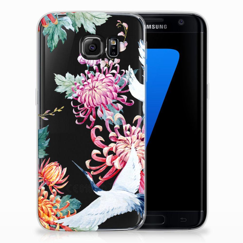 Samsung Galaxy S7 Edge TPU Hoesje Bird Flowers