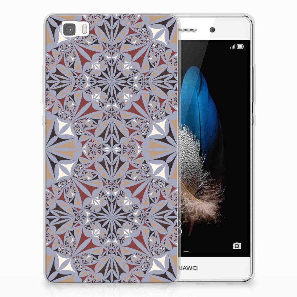 Huawei Ascend P8 Lite TPU Siliconen Hoesje Flower Tiles