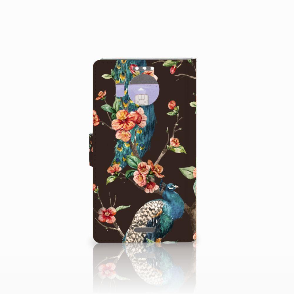 Microsoft Lumia 950 XL Telefoonhoesje met Pasjes Pauw met Bloemen