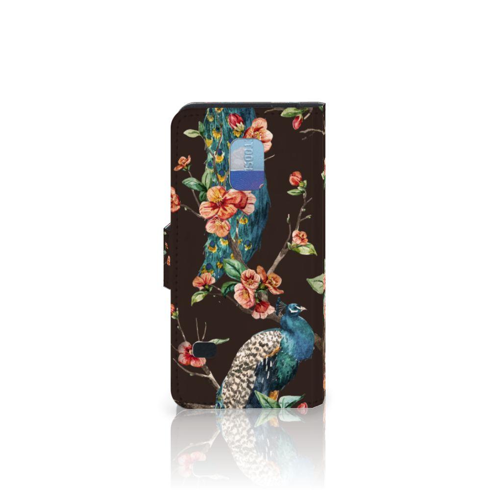 Samsung Galaxy S5 Mini Telefoonhoesje met Pasjes Pauw met Bloemen