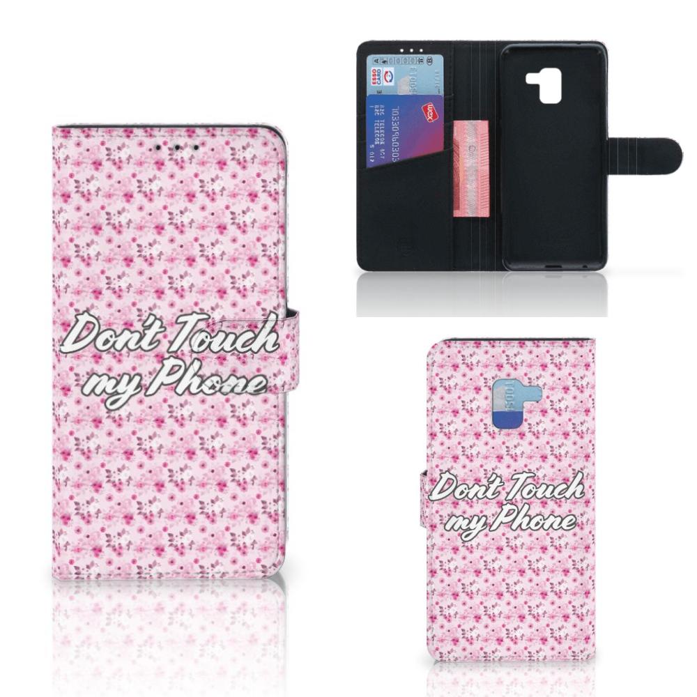 Samsung Galaxy A8 Plus (2018) Portemonnee Hoesje Flowers Pink DTMP