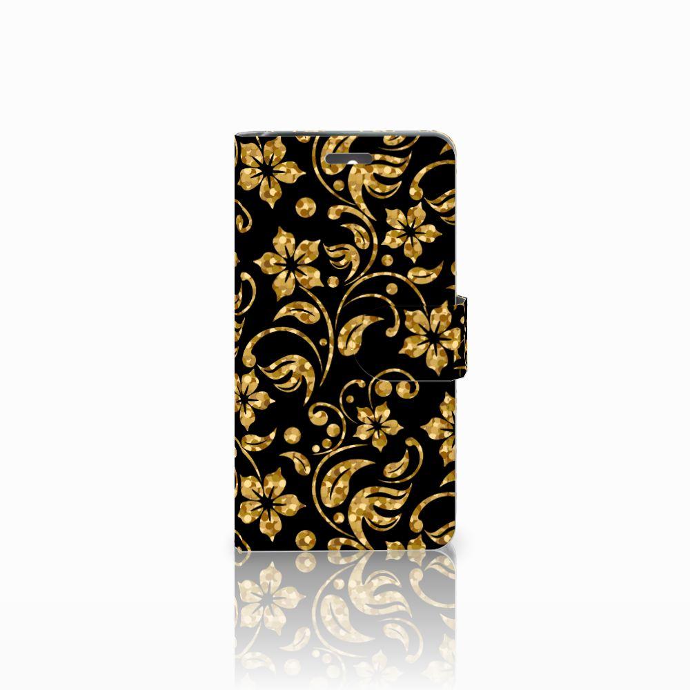 Lenovo K6 Boekhoesje Design Gouden Bloemen