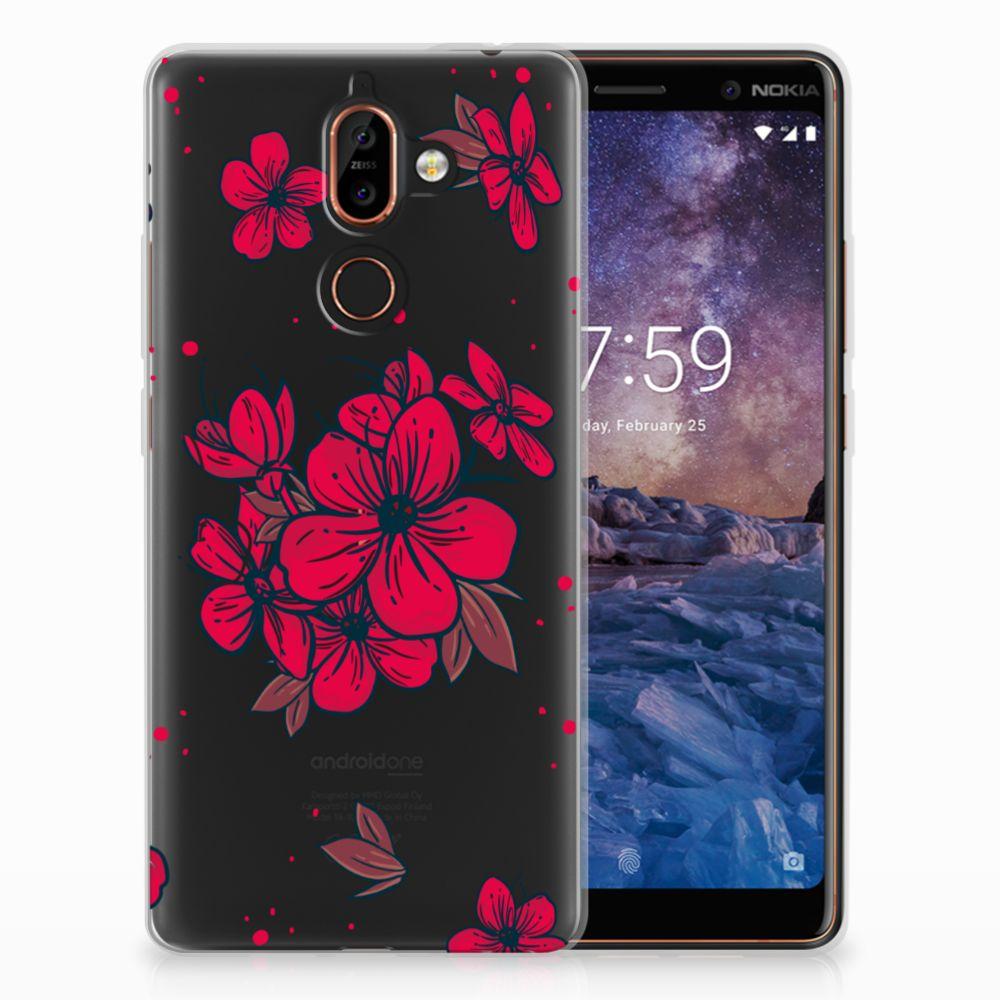 Nokia 7 Plus TPU Hoesje Design Blossom Red