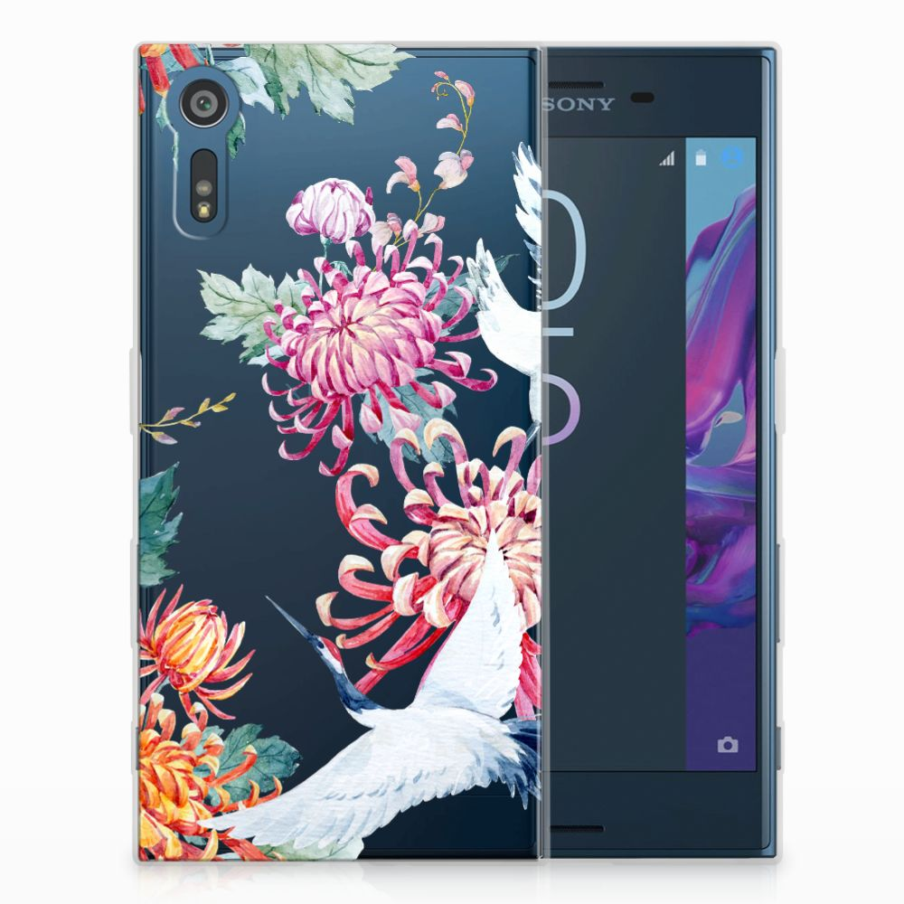 Sony Xperia XZs | XZ Uniek TPU Hoesje Bird Flowers