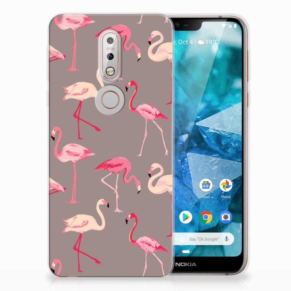 Nokia 7.1 Uniek TPU Hoesje Flamingo
