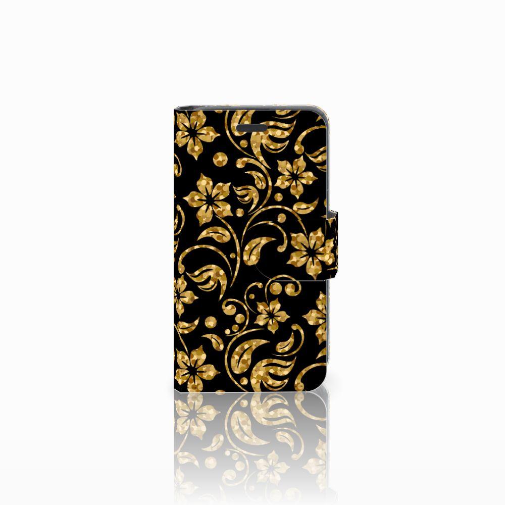 Nokia Lumia 520 Boekhoesje Design Gouden Bloemen