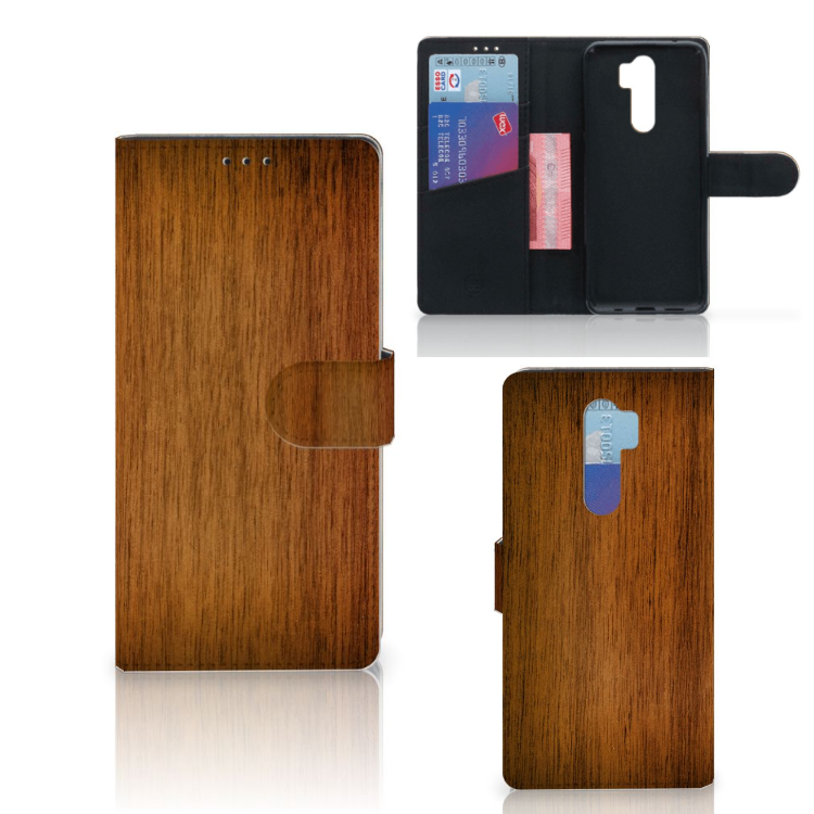 Xiaomi Note 8 Pro Book Style Case Donker Hout