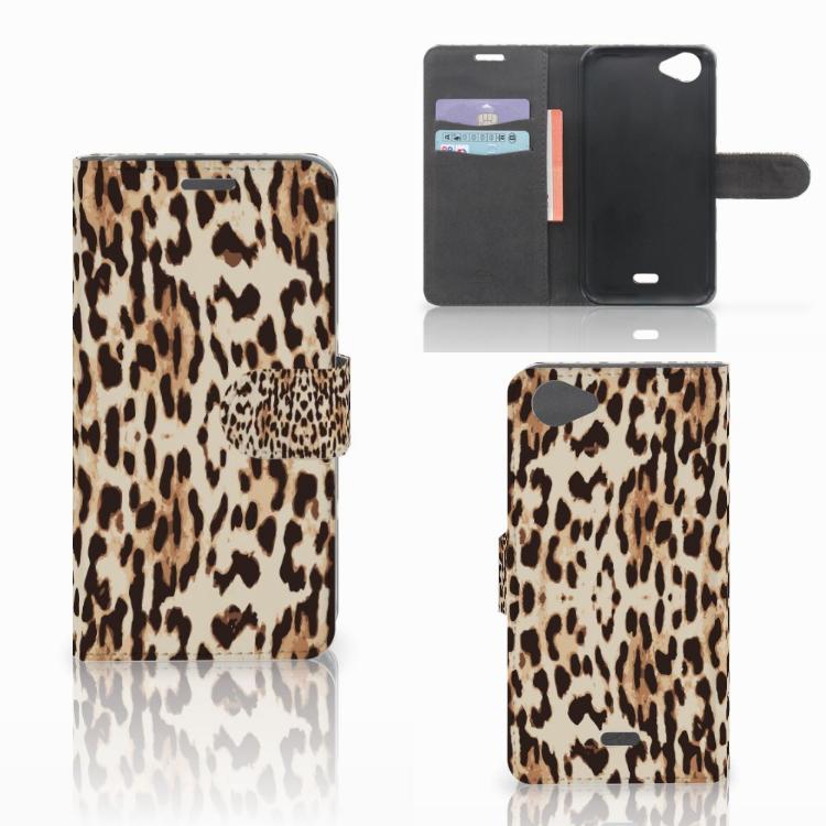 Wiko Rainbow Jam Telefoonhoesje met Pasjes Leopard