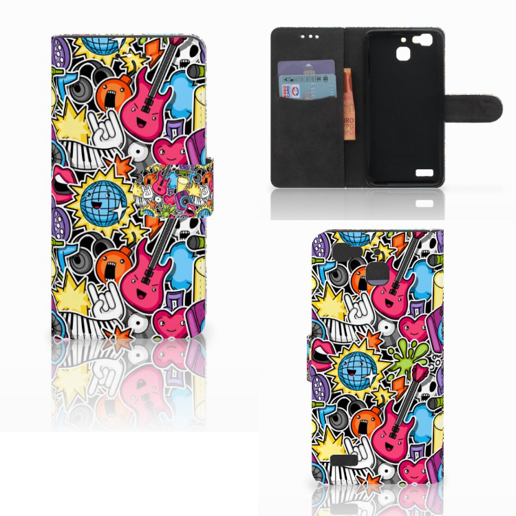 Huawei P8 Lite Smart (GR3) Wallet Case met Pasjes Punk Rock