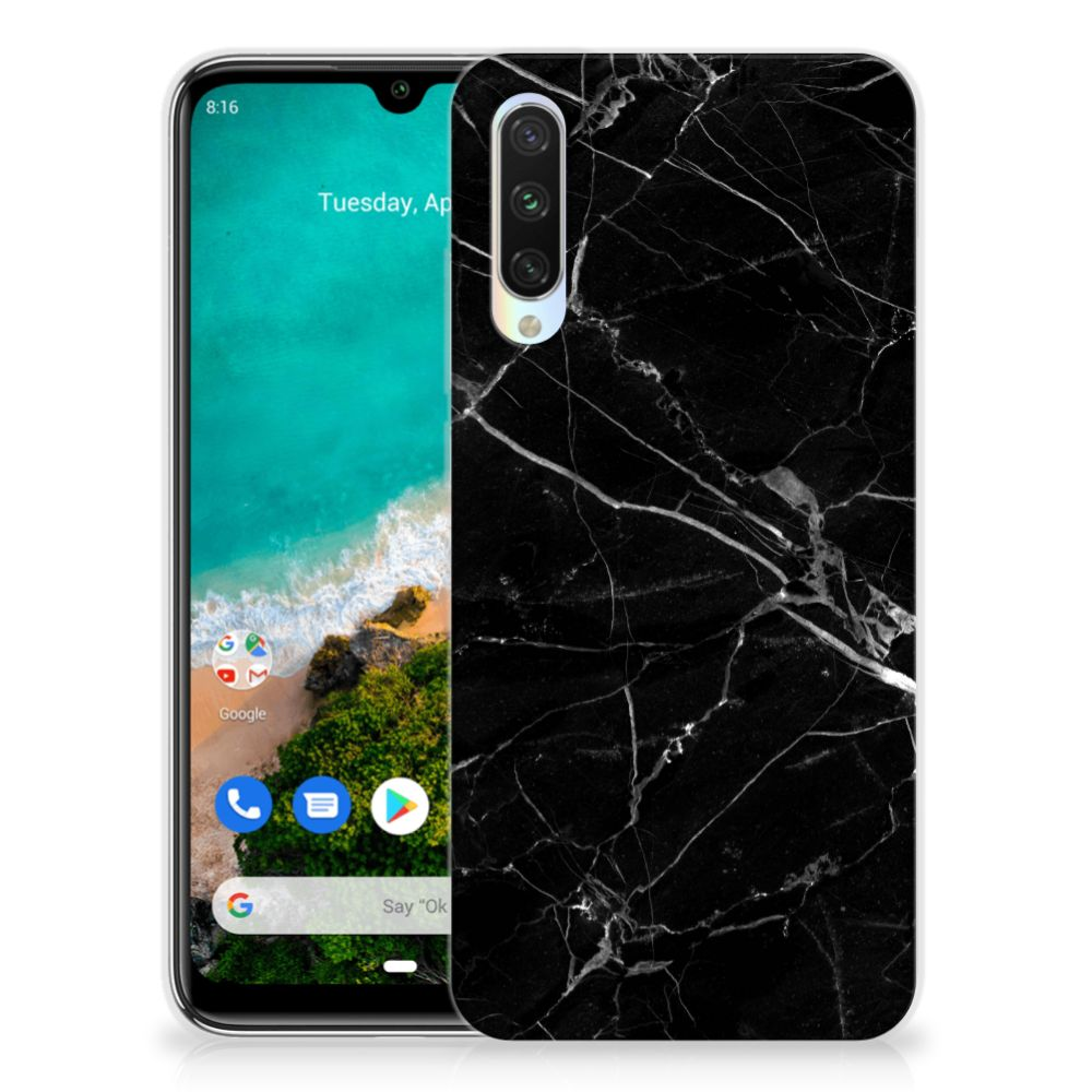 Xiaomi Mi A3 TPU Siliconen Hoesje Marmer Zwart