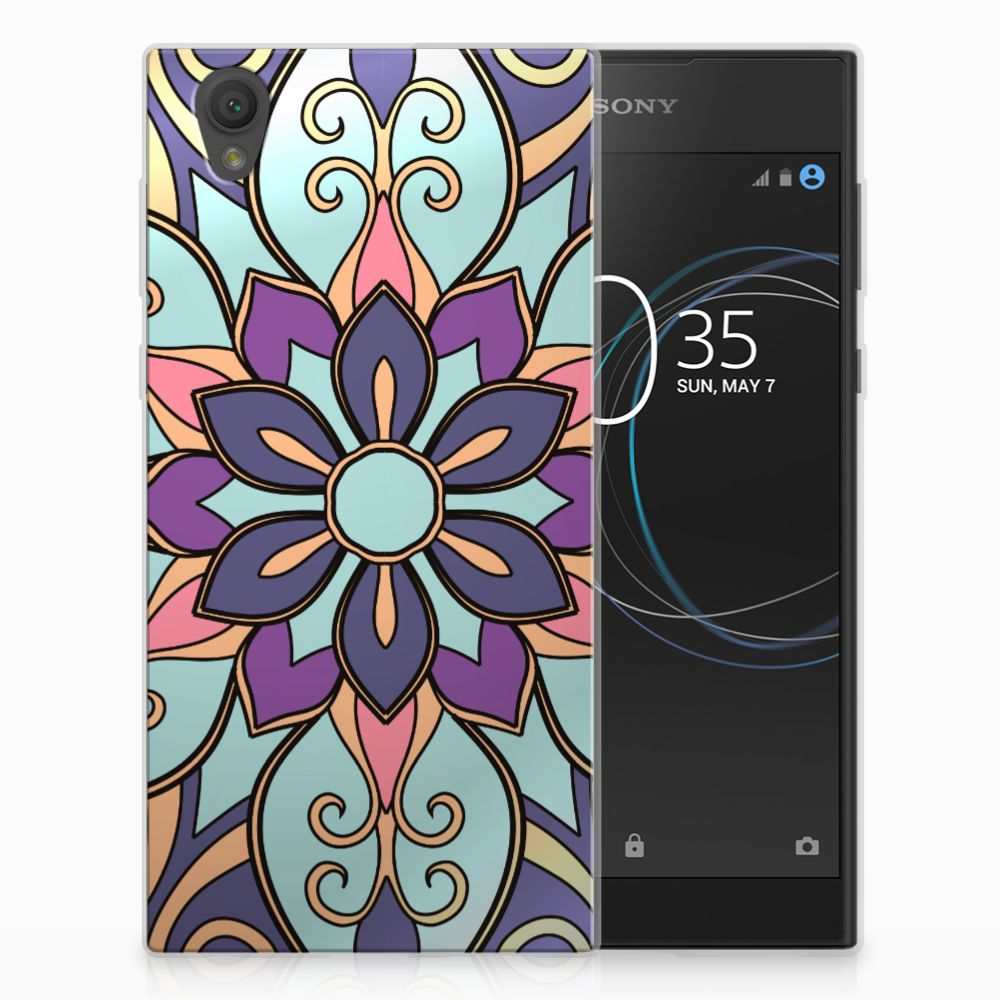 Sony Xperia L1 TPU Hoesje Design Purple Flower