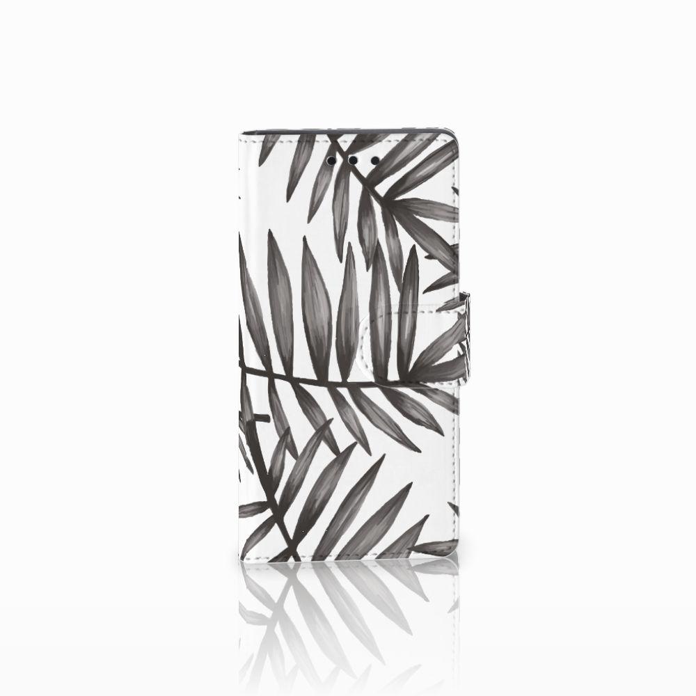 Sony Xperia Z5 Compact Uniek Boekhoesje Leaves Grey