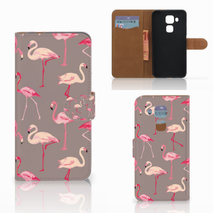 Huawei Nova Plus Telefoonhoesje met Pasjes Flamingo