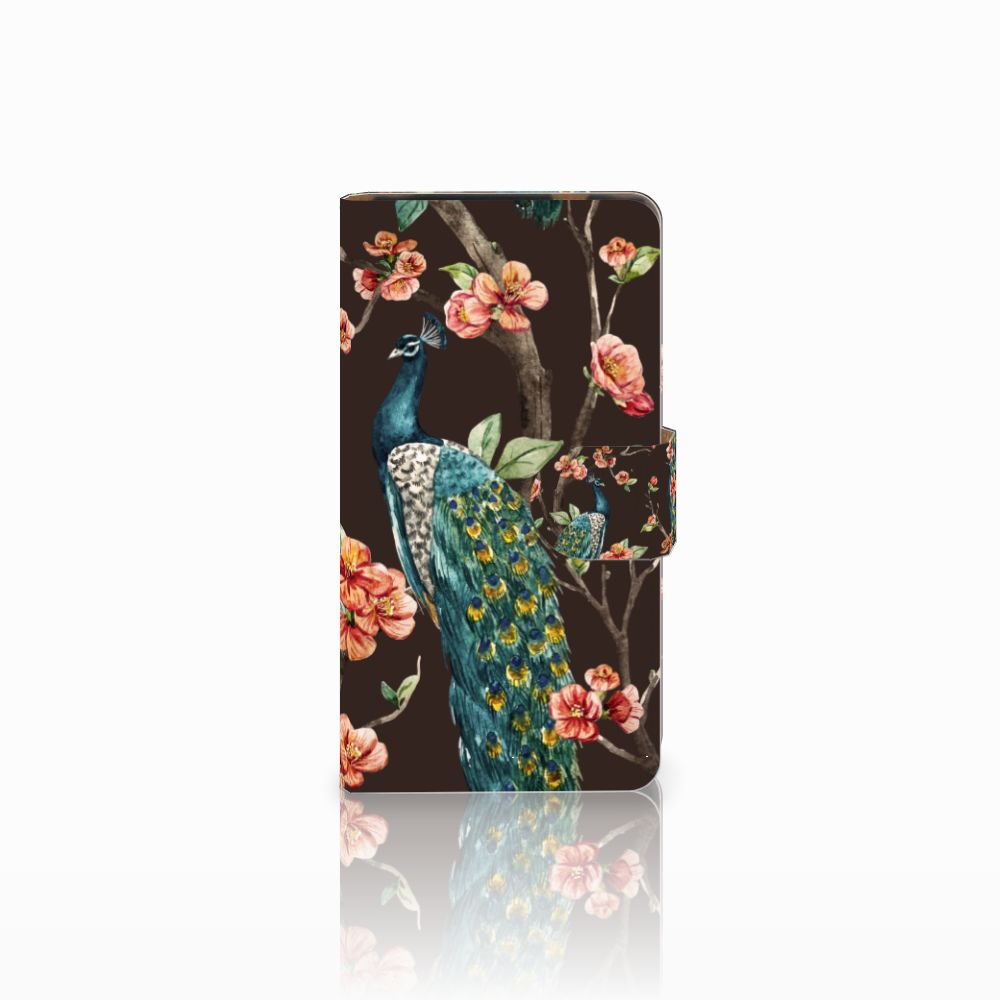 HTC Desire 601 Boekhoesje Design Pauw met Bloemen