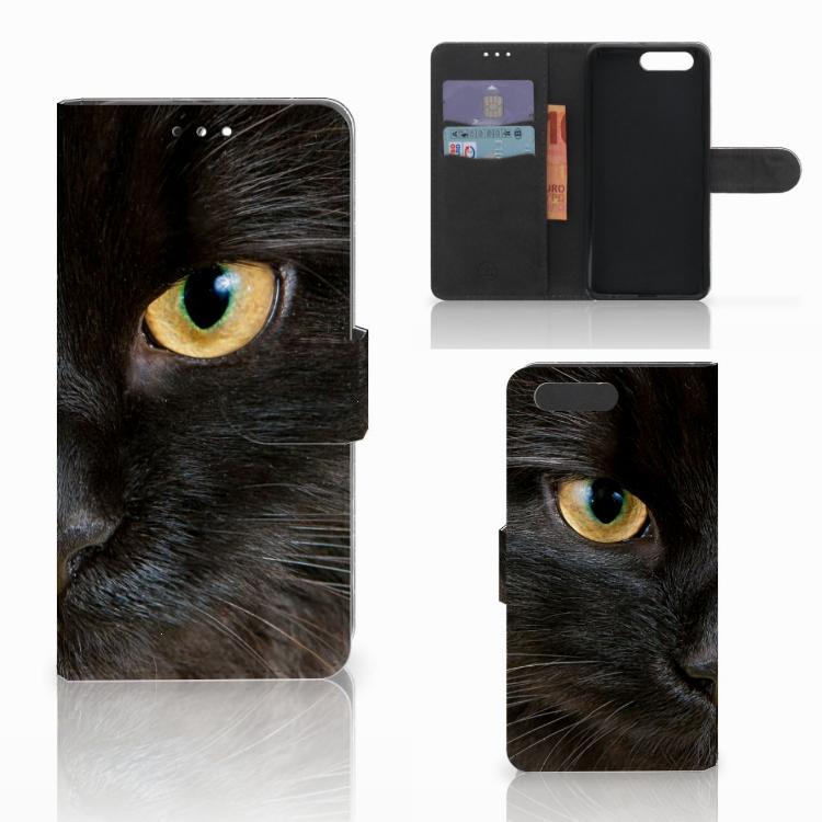 Honor 9 Telefoonhoesje met Pasjes Zwarte Kat