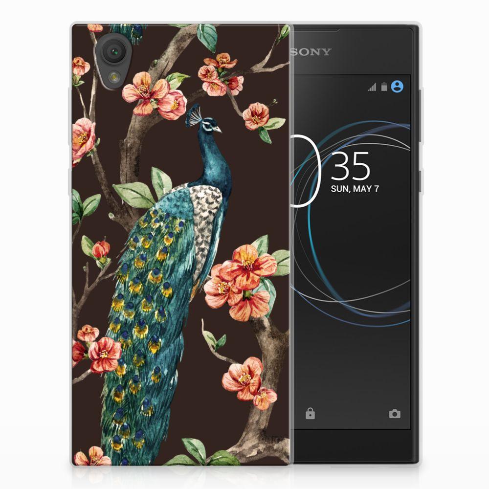 Sony Xperia L1 TPU Hoesje Design Pauw met Bloemen