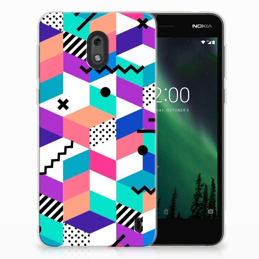 Nokia 2 TPU Hoesje Blokken Kleurrijk