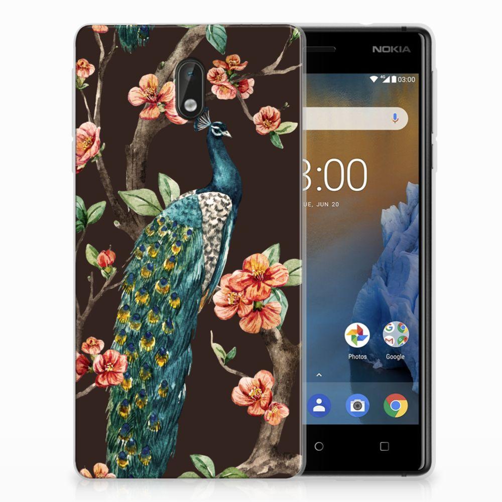 Nokia 3 TPU Hoesje Design Pauw met Bloemen
