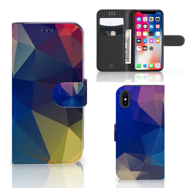 Apple iPhone X | Xs Bookcase Polygon Dark