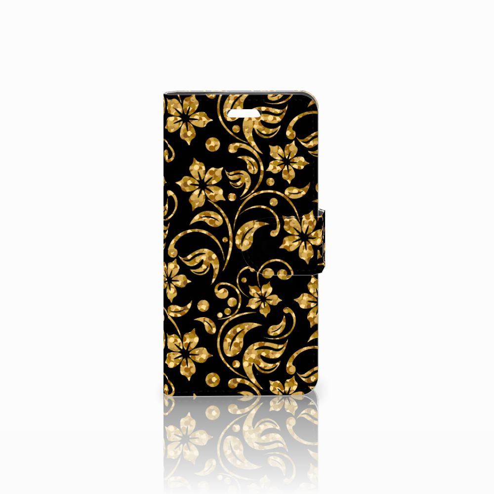 Acer Liquid Z330 Boekhoesje Design Gouden Bloemen