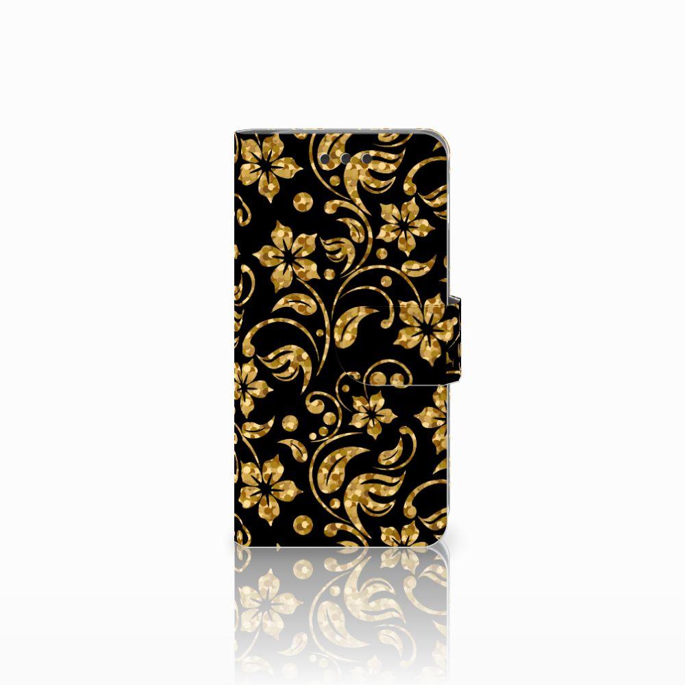 Samsung Galaxy A3 2016 Boekhoesje Design Gouden Bloemen