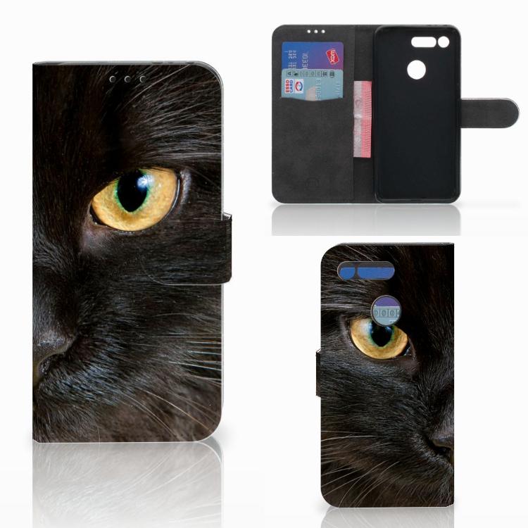 Honor View 20 Telefoonhoesje met Pasjes Zwarte Kat