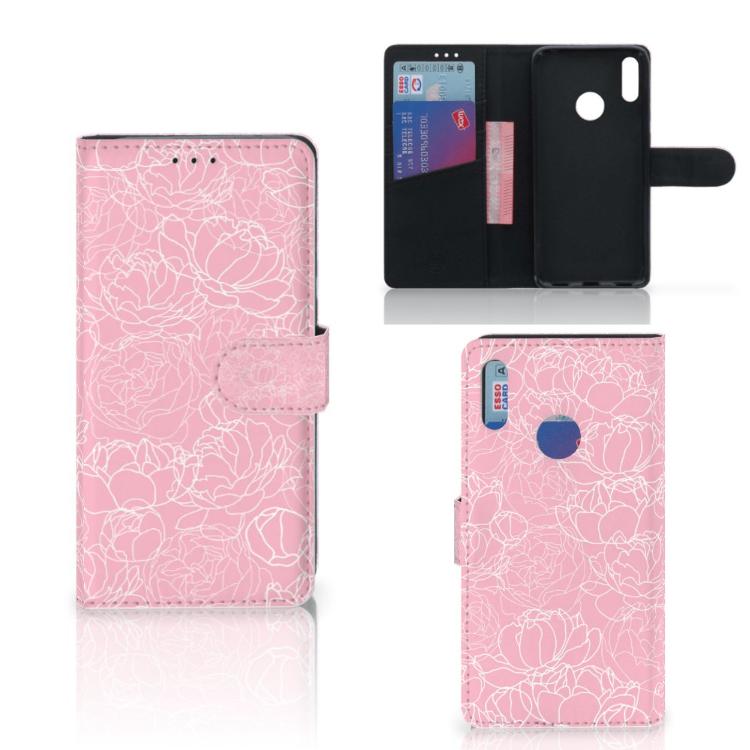 Huawei Y7 Pro   Y7 Prime (2019) Wallet Case White Flowers
