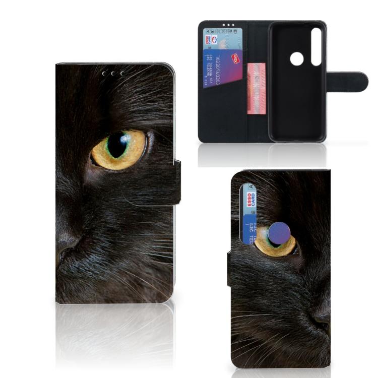 Motorola Moto G8 Plus Telefoonhoesje met Pasjes Zwarte Kat
