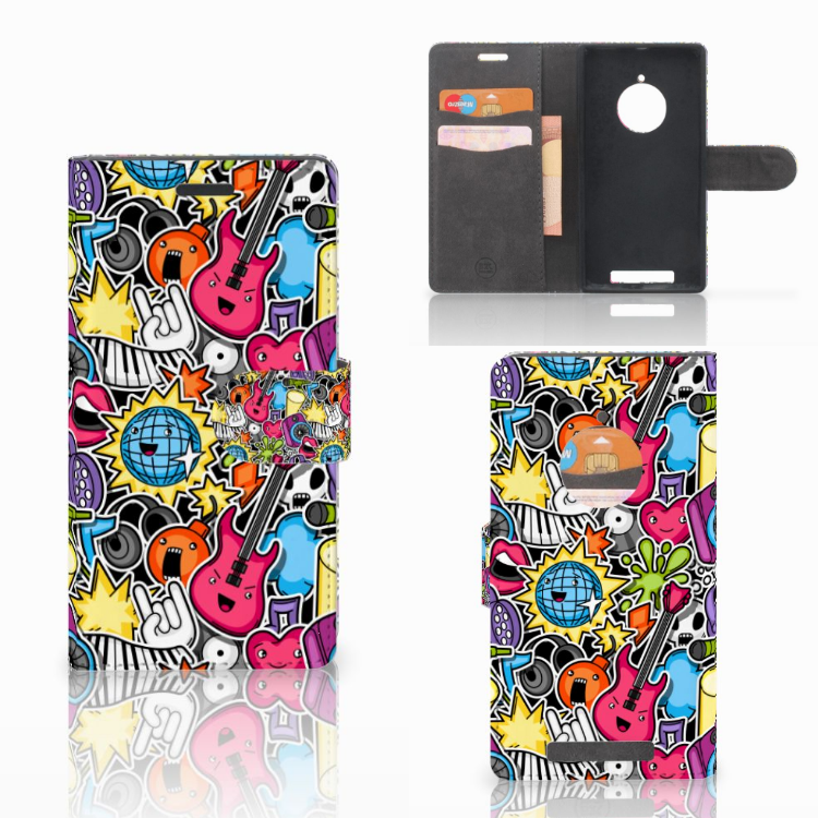 Nokia Lumia 830 Wallet Case met Pasjes Punk Rock