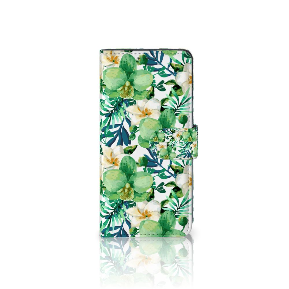 LG V40 Thinq Uniek Boekhoesje Orchidee Groen