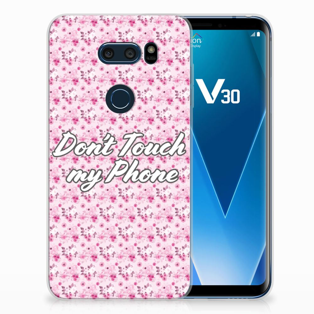 LG V30 Silicone-hoesje Flowers Pink DTMP