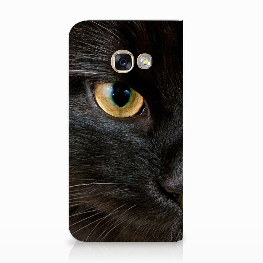Samsung Galaxy A3 2017 Uniek Standcase Hoesje Zwarte Kat