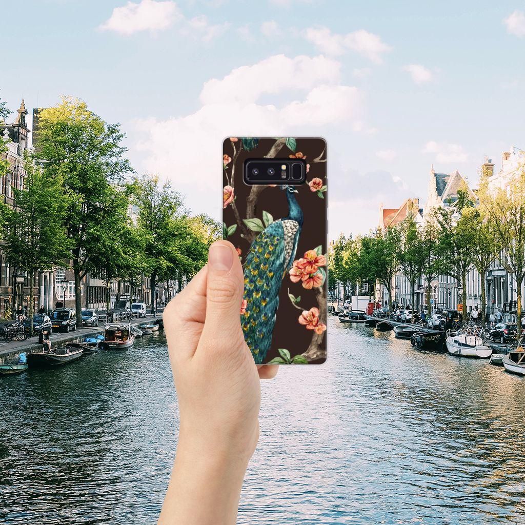 Samsung Galaxy Note 8 TPU Hoesje Pauw met Bloemen