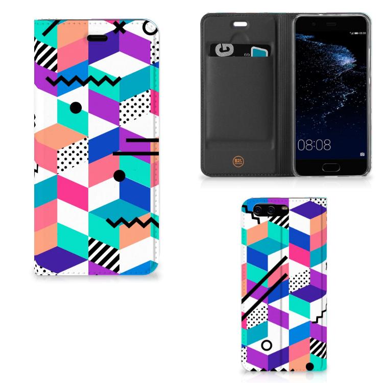 Huawei P10 Stand Case Blokken Kleurrijk